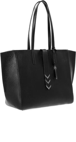 AGGIE LARGE LEATHER TOTE WITH TWIN CARRY HANDLES IN BLACK