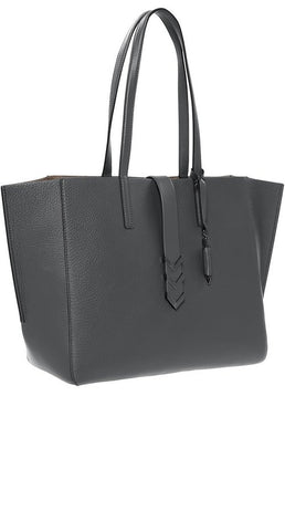AGGIE LARGE LEATHER TOTE WITH TWIN CARRY HANDLES IN SLATE
