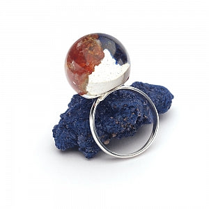 Mineral vanadinite, azurite and resin