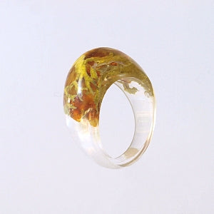 Amber ring and natural lichen encapsulated in epoxy resin