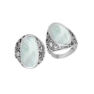 "AR-1087-MOP-9"" Sterling Silver Ring With Mother Of Pearl"
