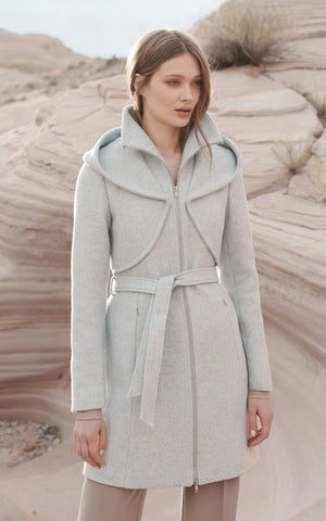 ARYA novelty wool coat with dramatic hood