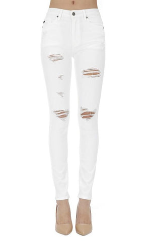 Ashley - White Distressed Jeans