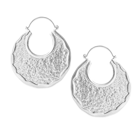 Auria Crescent Inca Earrings in Silver (PAIR)