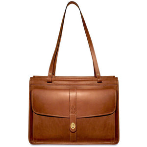 BELMONT LEATHER DOWEL TOTE BAG #B2965