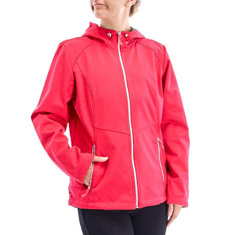 Hooded Water Resistant Soft Shell Jacket with Faux Fur Lining