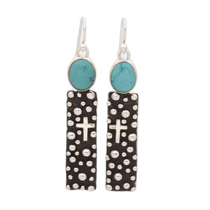 "RECTANGLE ""MILLION DROPS"" EARRINGS WITH TURQUOISE"