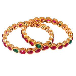 Classy red kemp stone emerald bangles