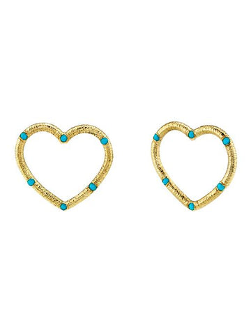 Medium Textured Heart Stud Earrings