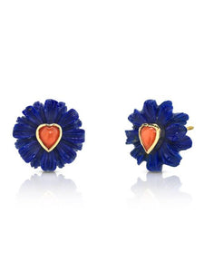 Wildflower & Coral Heart Stud Earrings