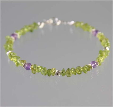 Amethyst and Peridot Bracelet