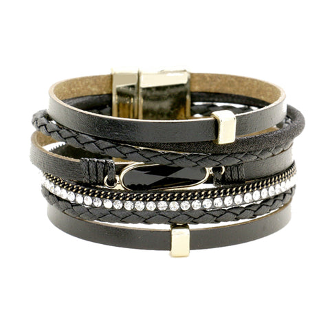 Multi-Strand Faux Leather Bracelet
