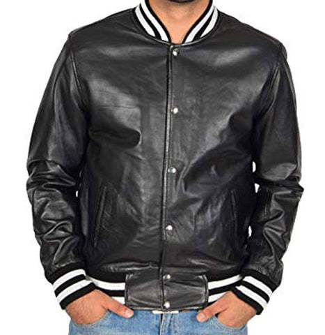 Mens Leather Varsity Jacket Smooth Sheepskin in assorted colors