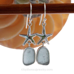 Limited Edition - Classically Set Baby Blue Sea Glass Earrings In Sterling With Starfish