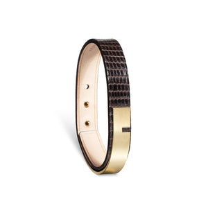"""U-TURN SIMPLE"" CHOCOLATE IGUANA LEATHER BRACELET"