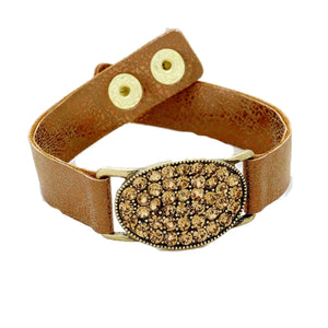 Leather Bracelet with Crystal Face