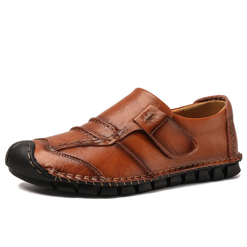 Men's Four Seasons Hand Stitching Hook-Loop Leather Loafer