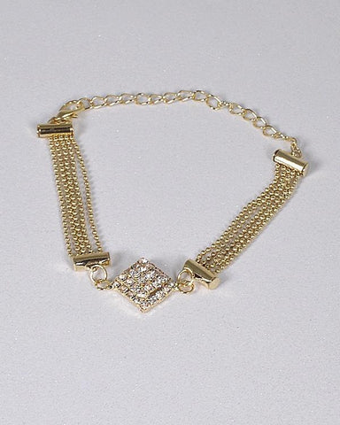 DIAMOND SHAPE STUDDED CENTER BRACELET