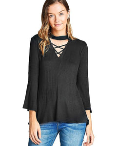 V-shape cutout crisscross design top