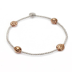 "Lucky ""BALANCE"" 4- Beaded Silver and Rose Gold Bracelet"