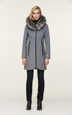 CHARLENA slim-fit wool coat with removable silver fur