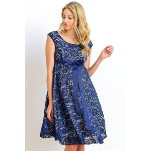Navy-White Satin Waist Cap Lace Maternity Dress