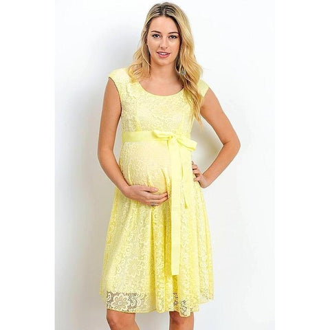 Yellow Satin Waist Cap Lace Maternity Dress