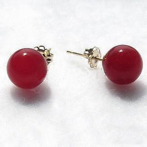 10MM RED CARNELIAN BALL STUD EARRINGS