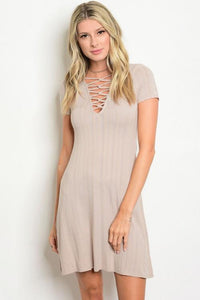 The Aurora Taupe Dress