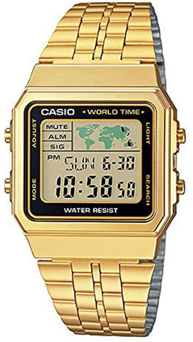 CASIO DIGITAL STAINLESS STEEL WORLD TIME A500WGA-1DF A500WGA-1 MEN'S WATCH