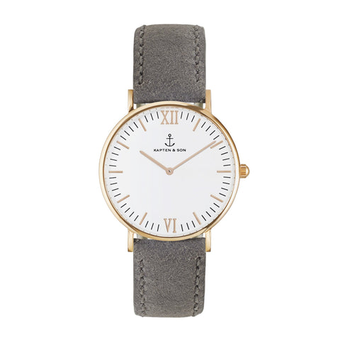 Grey Vintage Leather Campus by Kapten And Son Watches