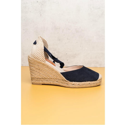 CHI LACE UP ESPADRILLE WEDGES NAVY
