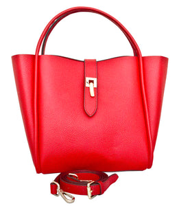 Cecita - Leatherbay Tote Bag / Crimson Red