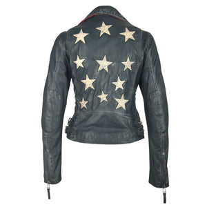 Christy Leather Jacket In Navy