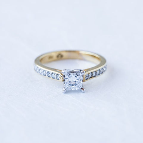 Princess Cut Diamond in Diamond Set Band