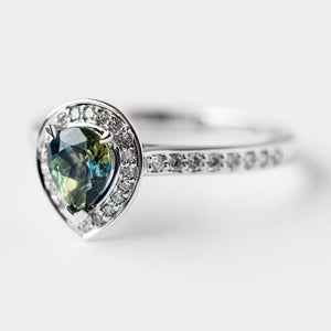Australian Sapphire and Diamond Halo Ring