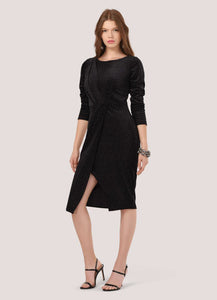Closet Draped Front Black Velvet Dress