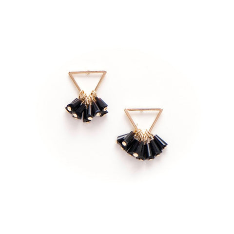 Confetti Triangle Earrings Black