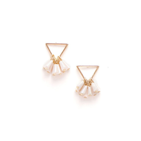 Confetti Triangle Earrings Creme