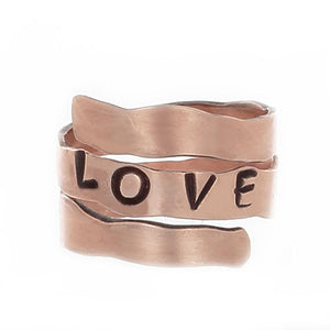 "Copper Wrap Rings, stamped with the word ""LOVE"" - adjustable sizes"