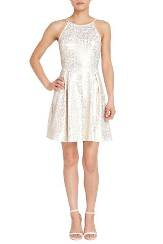 WHITE GOLD METALLIC FOIL FIT AND FLARE DRESS