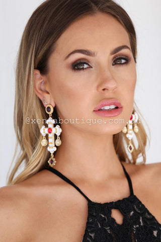 DECORUM JEWEL EARRINGS (WHITE/GOLD/RED)