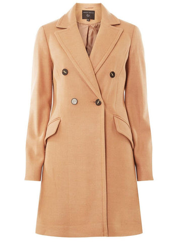 Camel Double Breasted Pea Coat