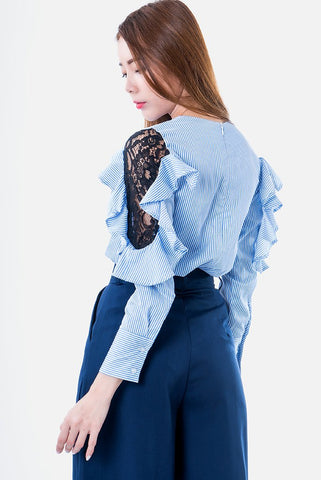 Evangeline Lace Striped Ruffle Shirt in Light Blue