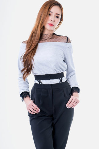 Claire Fishnet Off The Shoulder Blouse in Grey