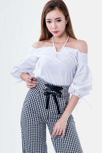 Phoebe Cold Shoulder Balloon Sleeve Top in White