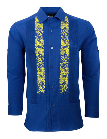 ROYALLY BLUE CLOUDS UNDER YELLOW STARS GUAYABERA