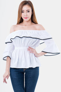 Eloise Off The Shoulder Ruffle Sleeves Top in White