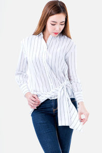 Chloe Striped Tie Front Long Sleeve Shirt in White