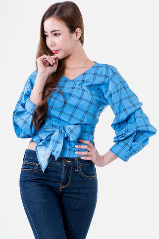 Gemma Wrap Top in Blue Plaid